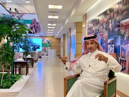 Ahmed Al Khateeb, Chairman of the Saudi commission for tourism and national heritage gestures during an interview with Reuters in Riyadh