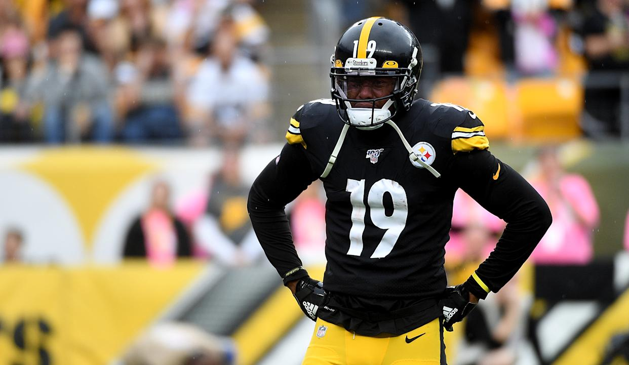 JuJu Smith-Schuster had a costly overtime fumble against the Ravens. (Getty Images)