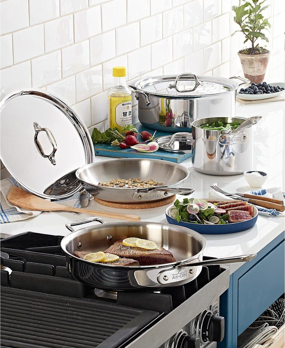 "For top-notch cookware, this set from All-Clad is made from mirror-polished stainless steel that's supposed to last long. This set includes a fry pan, sauce pan, sauté pan and stock pot with their respective covers. The pots and pans are dishwasher-safe, too. <a href=""https://fave.co/3ffZomi"" target=""_blank"" rel=""noopener noreferrer"">Originally $840, get the set now for $300 at Macy's</a>."