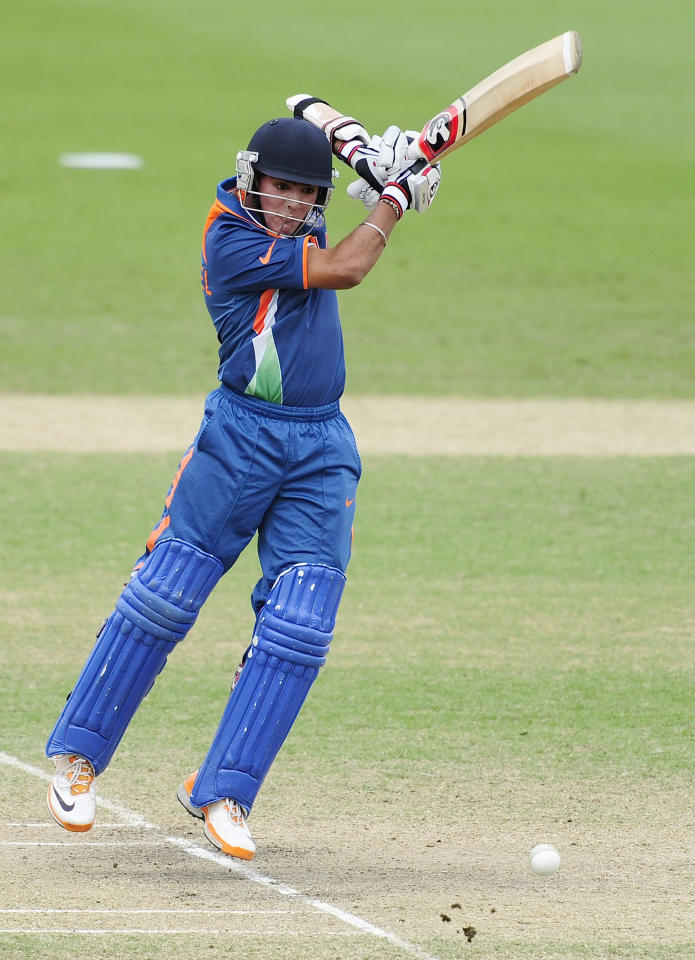TOWNSVILLE, AUSTRALIA - AUGUST 20:  Smit Patel of India bats during the ICC U19 Cricket World Cup 2012 Quarter Final match between India and Pakistan at Tony Ireland Stadium on August 20, 2012 in Townsville, Australia.  (Photo by Ian Hitchcock-ICC/Getty Images)