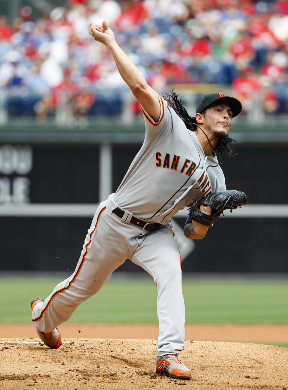 San Francisco Giants starting pitcher Dereck Rodriguez throws a pitch during the first inning of a baseball game against the Philadelphia Phillies, Thursday, Aug. 1, 2019, in Philadelphia. (AP Photo/Chris Szagola)