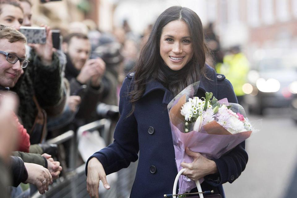 """<p>Meghan shared with <em><a href=""""https://www.allure.com/story/meghan-markle-suits-beauty-tips"""" rel=""""nofollow noopener"""" target=""""_blank"""" data-ylk=""""slk:Allure"""" class=""""link rapid-noclick-resp"""">Allure</a></em> in 2017 about her makeup routine. """"I don't wear foundation in real life. My routine is very simple—I call it the five-minute face. It's just Touche Éclat, curled lashes, mascara, Chap Stick, and a little bit of blush. That is my favorite kind of look. If I'm going to amp it up for night, then I use M.A.C. Teddy eyeliner, which is a really beautiful brown that has some gold in it.""""<br></p>"""