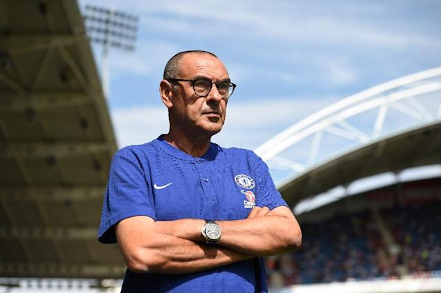 Chelsea's Italian head coach Maurizio Sarri says he found out he was sacked by Napoli on TV. (AFP Photo/Oli SCARFF )