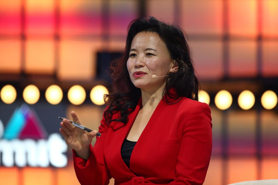 LISBON , PORTUGAL - 6 November 2019; Cheng Lei, Anchor, CGTN Europe, on Centre Stage during day two of Web Summit 2019 at the Altice Arena in Lisbon, Portugal. (Photo By Vaughn Ridley/Sportsfile for Web Summit via Getty Images)