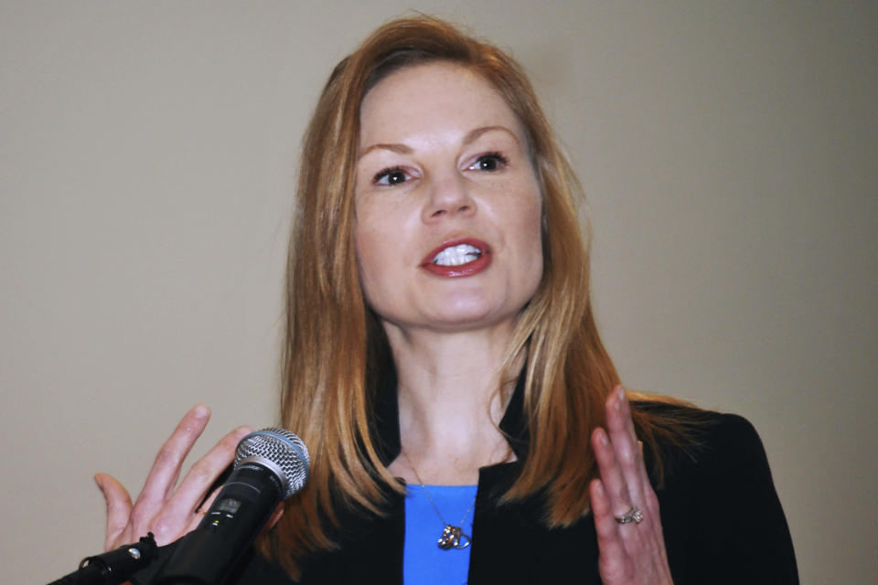 FILE - In this Jan. 14, 2019 file photo, Democratic state Auditor Nicole Galloway speaks in Jefferson City, Mo. Democrats and Republicans have poured money into Montana's race for governor with both sides trying to win control of the executive branch in a Western state where Republicans have dominated the legislature for a decade. It's the most hotly contested of the nation's 11 governor's races this fall. Other marquee races are in Missouri, where Democrats see an opening after the GOP incumbent has stumbled in his response to the coronavirus outbreak, and North Carolina, where Republicans are trying to unseat a Democratic governor. (Julie Smith/The Jefferson City News-Tribune via AP)