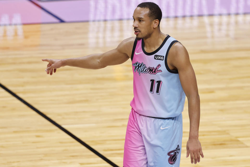 Avery Bradley #11 of the Miami Heat reacts against the Boston Celtics during the second quarter at American Airlines Arena on January 06, 2021.