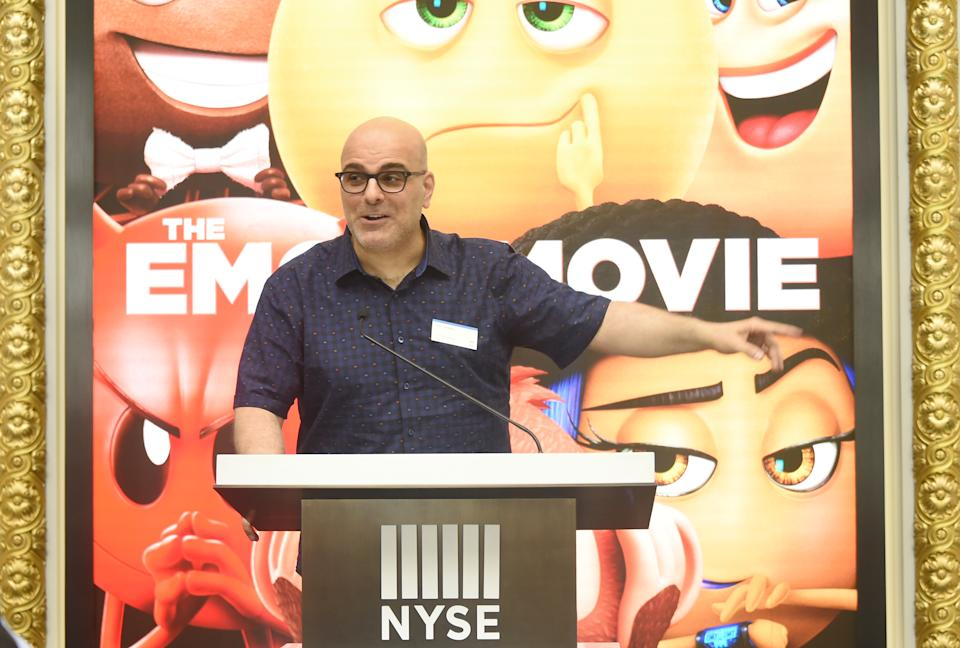 NEW YORK, NY - JULY 17:  Director Tony Leondis speaks at the ringing of The Closing Bell Of The New York Stock Exchange In Honor Of World Emoji Day at New York Stock Exchange on July 17, 2017 in New York City.  (Photo by Mike Coppola/Getty Images for Sony Pictures Entertainment )