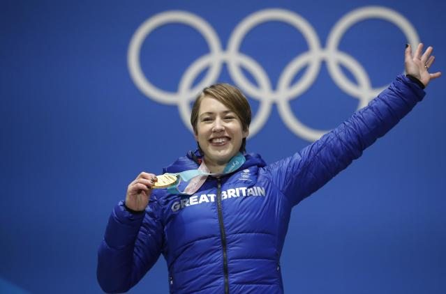 Medals Ceremony - Skeleton - Pyeongchang 2018 Winter Olympics - Women's Skeleton - Medals Plaza - Pyeongchang, South Korea - February 18, 2018 - Gold medalist Lizzy Yarnold of Britain on the podium. REUTERS/Kim Hong-Ji