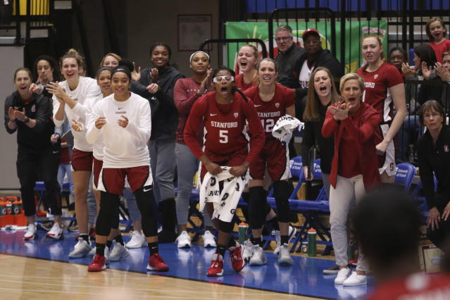 Stanford players celebrate a basket against Syracuse during the first half of an NCAA college basketball game Friday, Nov. 29 2019, in Victoria, British Columbia. (Chad Hipolito/The Canadian Press via AP)
