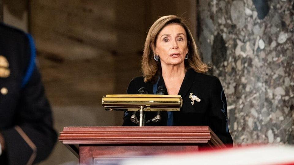 House Speaker Nancy Pelosi delivers remarks during a memorial service for Justice Ruth Bader Ginsburg as she lies in state in Statuary Hall of the U.S. Capitol Saturday. Ginsburg is the first woman to lie in state at the Capitol. (Photo by Erin Schaff-Pool/Getty Images)