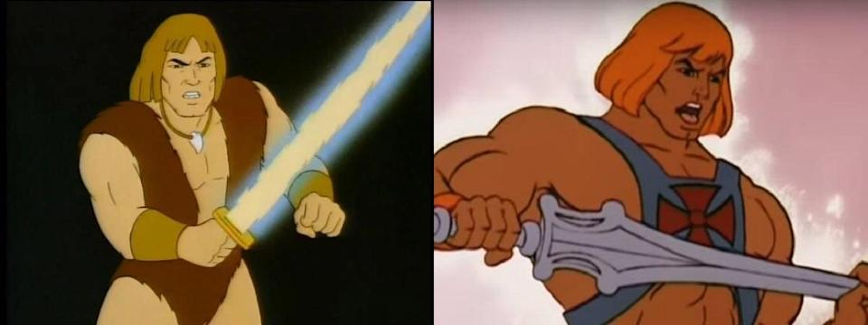 On the left, Ruby-Spears' Thundarr; on the right, Filmation's He-Man.
