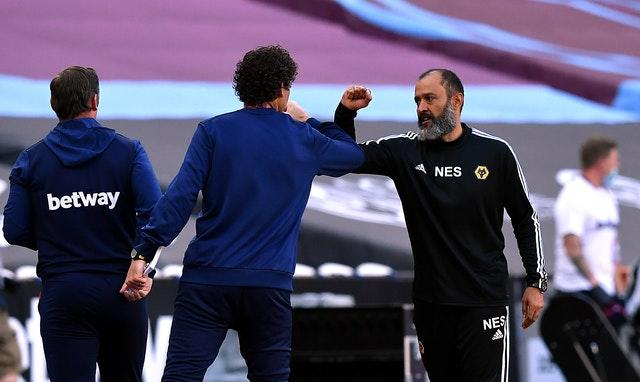 Nuno Espirito Santo, right, has guided Wolves to four straight wins over West Ham since they were promoted back to the Premier League in 2018