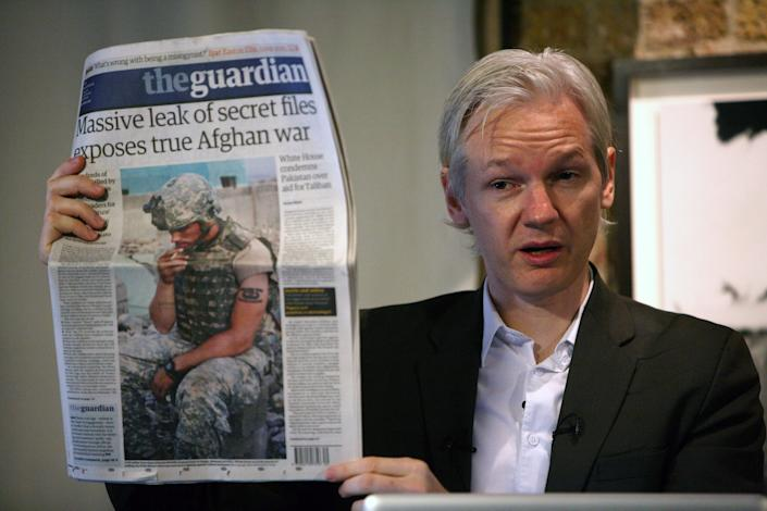 Julian Assange, the founder of Wikileaks, discusses publication of secret US documents about the war in Afghanistan at a press conference in the Frontline Club, London on July 26, 2010. (Julian Simmonds/Shutterstock)