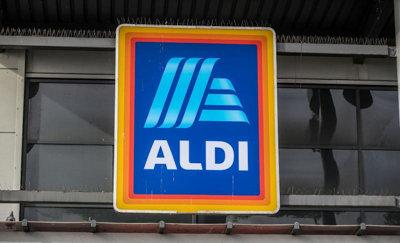Pictured: Aldi logo out the front of a store. Image: Getty