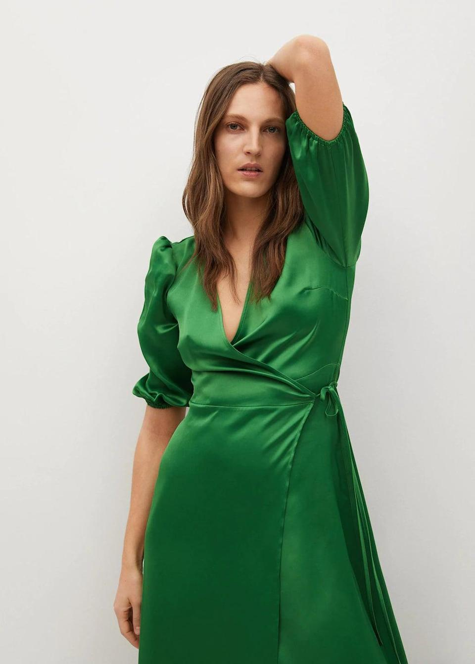 <p>This <span>Mango Wrapped Satin Dress</span> ($100) looks a lot more expensive than it is.</p>