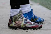 JACKSONVILLE, FL - DECEMBER 03: Cleats worn by Jacksonville Jaguars linebacker Paul Posluszny (51), honoring the Pat Tillman Foundation, are worn during the NFL's My Cause My Cleats weekend during the game between the Indianapolis Colts and the Jacksonville Jaguars on December 3, 2017 at EverBank Field in Jacksonville, Fl. (Photo by David Rosenblum/Icon Sportswire via Getty Images)