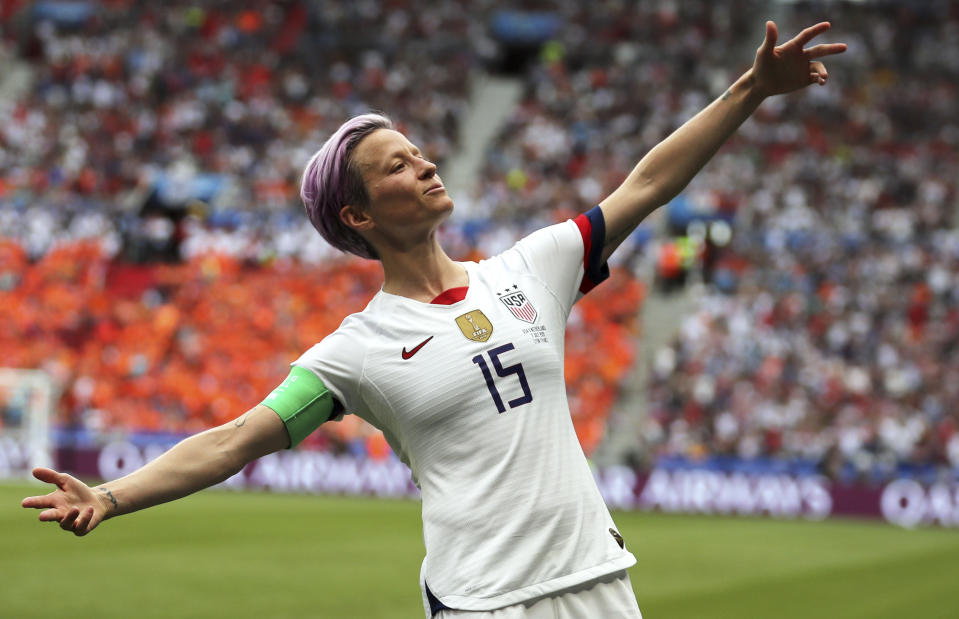 USA's Megan Rapinoe celebrates after scoring the opening goal during the Women's World Cup final soccer match between US and the Netherlands on July 7, 2019. (AP)