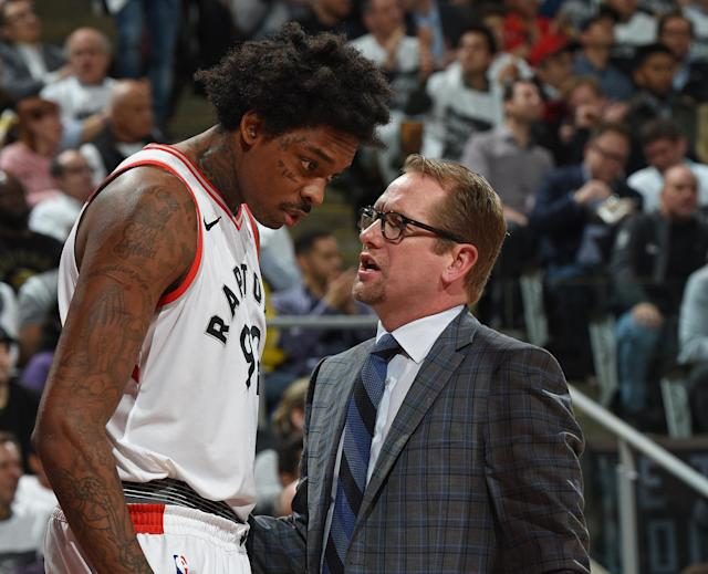 "After serving as an assistant on Dwane Casey's staff since 2013, Nick Nurse (right) will reportedly become the <a class=""link rapid-noclick-resp"" href=""/nba/teams/tor"" data-ylk=""slk:Toronto Raptors"">Toronto Raptors</a>' new head coach. (Getty)"