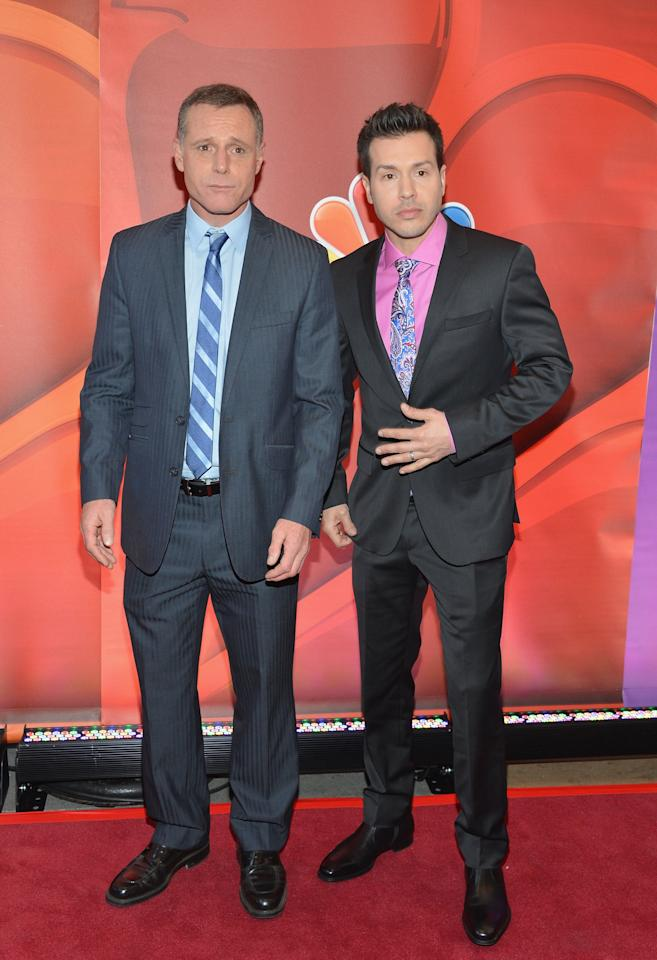 NEW YORK, NY - MAY 13:  Actors Jason Beghe and Jon Seda attend 2013 NBC Upfront Presentation Red Carpet Event at Radio City Music Hall on May 13, 2013 in New York City.  (Photo by Slaven Vlasic/Getty Images)