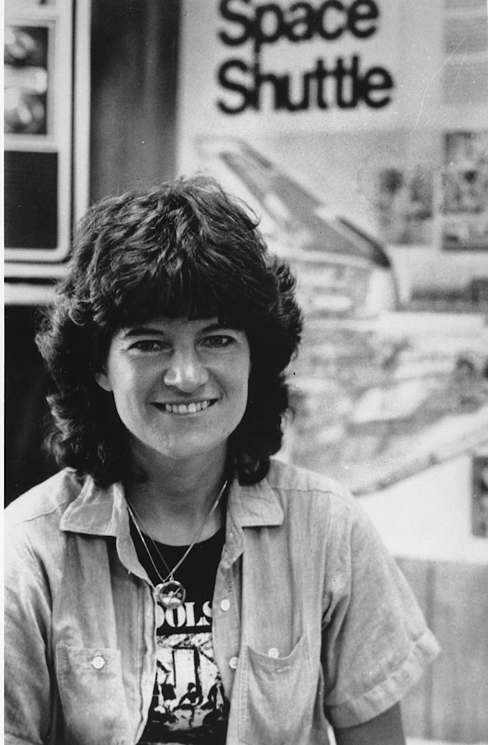 FILE - In this Aug. 29, 1983 file photo, astronaut Sally Ride poses at Kennedy Space Center in Cape Caneveral, Fla. Ride, the first American woman in space, died Monday, July 23, 2012 after a 17-month battle with pancreatic cancer. She was 61. (AP Photo/Brian Russell, File)