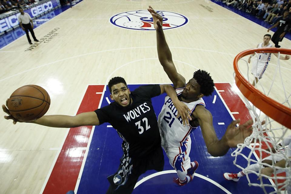 Karl-Anthony Towns and Joel Embiid are two of the many, many young talents who helped make this season so entertaining. (AP)