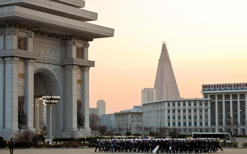 The Hotel of Doom in Pyongyang looms over the city - This content is subject to copyright.