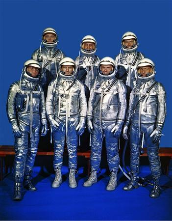 """The original seven Mercury astronaut pose at NASA Langley Research Center in this undated NASA handout file photo. Back row from left, are: Alan Shepard, Virgil """"Gus"""" Grissom and L. Gordon Cooper; front row, Walter Schirra, Donald """"Deke"""" Slayton, John Glenn and Scott Carpenter. Carpenter, who orbited Earth in 1962, died October 10, 2013 in a Denver hospice center at age 88 of complications from a stroke, his wife Patty Carpenter said. REUTERS/NASA/Handout"""