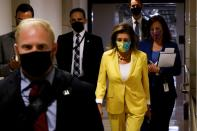 U.S. House Speaker Pelosi concludes a closed-door House Democratic caucus meeting at the U.S. Capitol in Washington