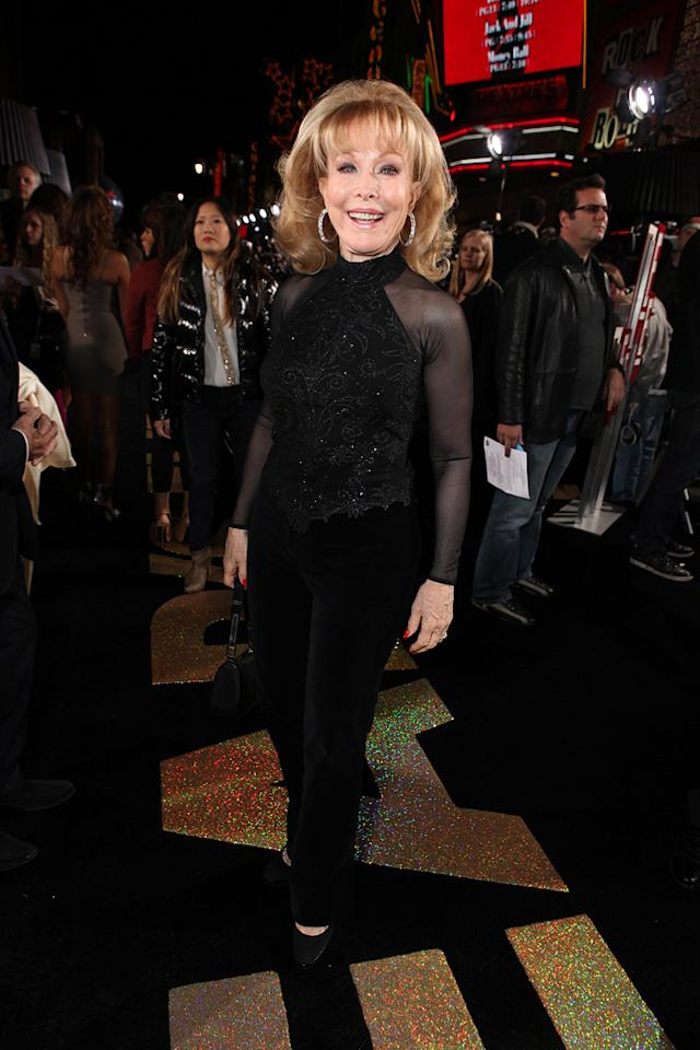 """<a href=""""http://movies.yahoo.com/movie/contributor/1800016498"""">Barbara Eden</a> at the Los Angeles premiere of <a href=""""http://movies.yahoo.com/movie/1810219047/info"""">New Year's Eve</a> on December 5, 2011."""