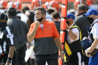 Cleveland Browns special teams coordinator Mike Priefer stands on the sideline during an NFL football game against the Washington Football Team, Sunday, Sept. 27, 2020, in Cleveland. Priefer has known for months that he would replace Kevin Stefanski as Browns coach in the event of a positive COVID-19 test. He never imagined it happening in the playoffs. (AP Photo/David Richard)