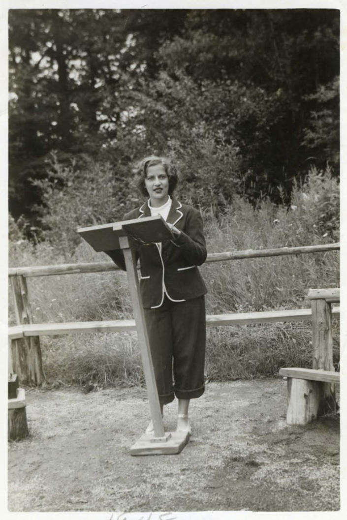 Ruth Bader delivers a sermon as camp rabbi at the age of 15, at Camp Che-Na-Wah, Minerva, N.Y. (Photo: Supreme Court of the United States)
