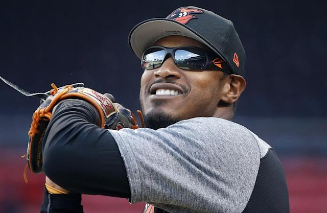 "<a class=""link rapid-noclick-resp"" href=""/mlb/players/7812/"" data-ylk=""slk:Adam Jones"">Adam Jones</a> addressed his place in baseball today and the ugly incident at Fenway Park. (AP)"
