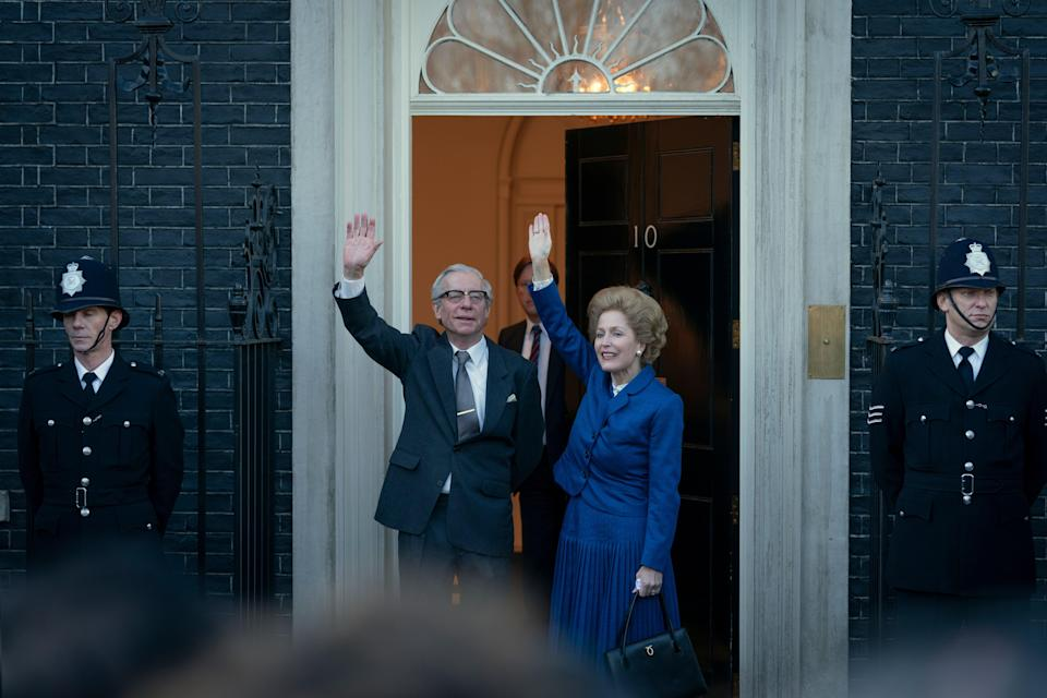 Gillian Anderson as Margaret Thatcher and Stephen Boxer as Dennis Thatcher.