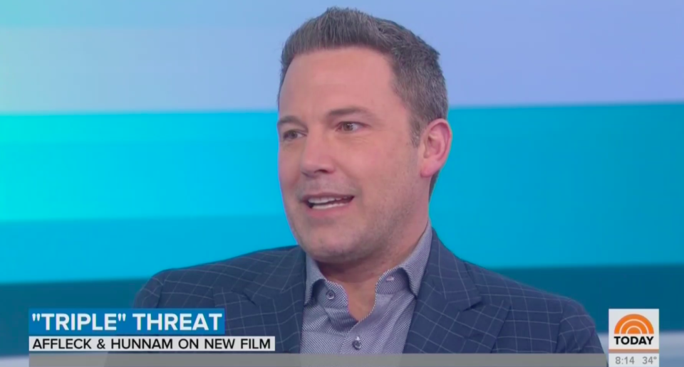 """Ben Affleck talked about his stint in rehab last year, co-parenting with the """"wonderful"""" Jennifer Garner and doing the A-Rod (not J.Lo) 10-day challenge. (Screenshot: Today show)"""