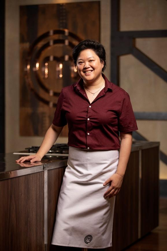 Sarah Tiong in the 2020 MasterChef kitchen