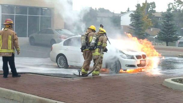 PHOTO: Taz Zaide said that his 2011 BMW 3-series caught on fire about five minutes after he had parked his car to go to work. (Obtained by ABC News)