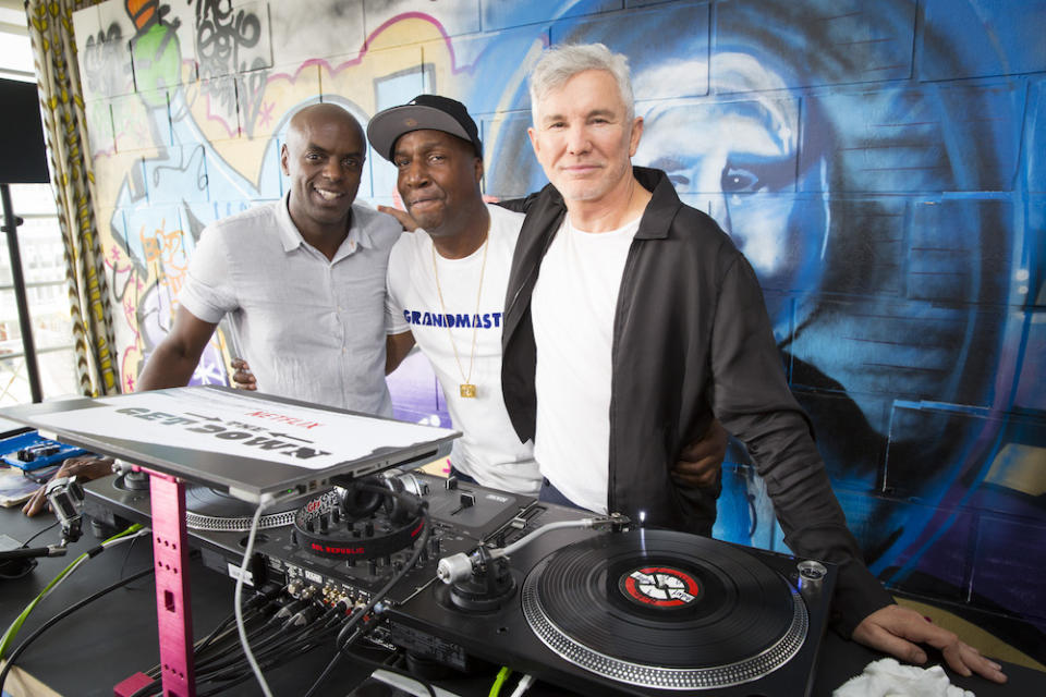 """Trevor Nelson and Grandmaster Flash, executive producers for the Netflix original series """"The Get Down"""" and creator Baz Luhrmann appear at a press day in London, England."""