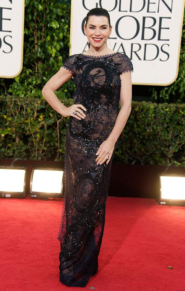 Julianna Margulies arrives at the 70th Annual Golden Globe Awards at the Beverly Hilton in Beverly Hills, CA on January 13, 2013.