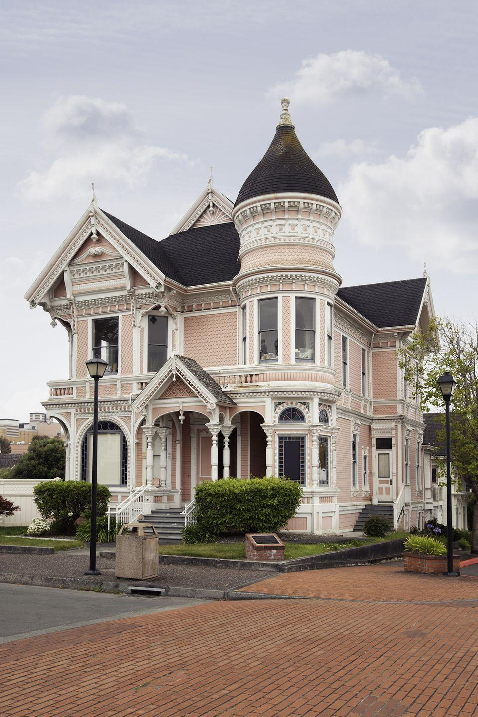 <p>Pale pink is a perfect shade for this ornate home in Eureka.</p>