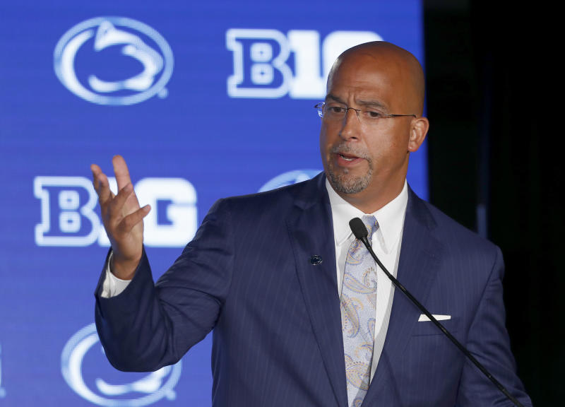 Penn State head coach James Franklin responds to a question during the Big Ten Conference NCAA college football media days Friday, July 19, 2019, in Chicago. (AP Photo/Charles Rex Arbogast)