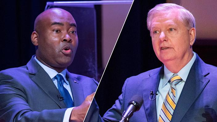 Democratic challenger Jaime Harrison, left, and Sen. Lindsey Graham, R-S.C., face off in a debate on Oct. 3. (Joshua Boucher/The State via AP [2])