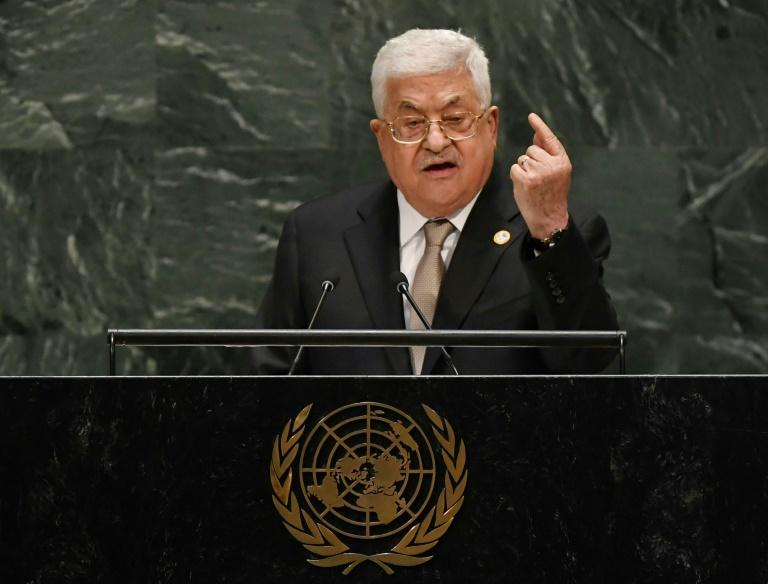 Palestinian President Mahmoud Abbas speaks during the 74th Session of the General Assembly at UN Headquarters in New York on September 26, 2019