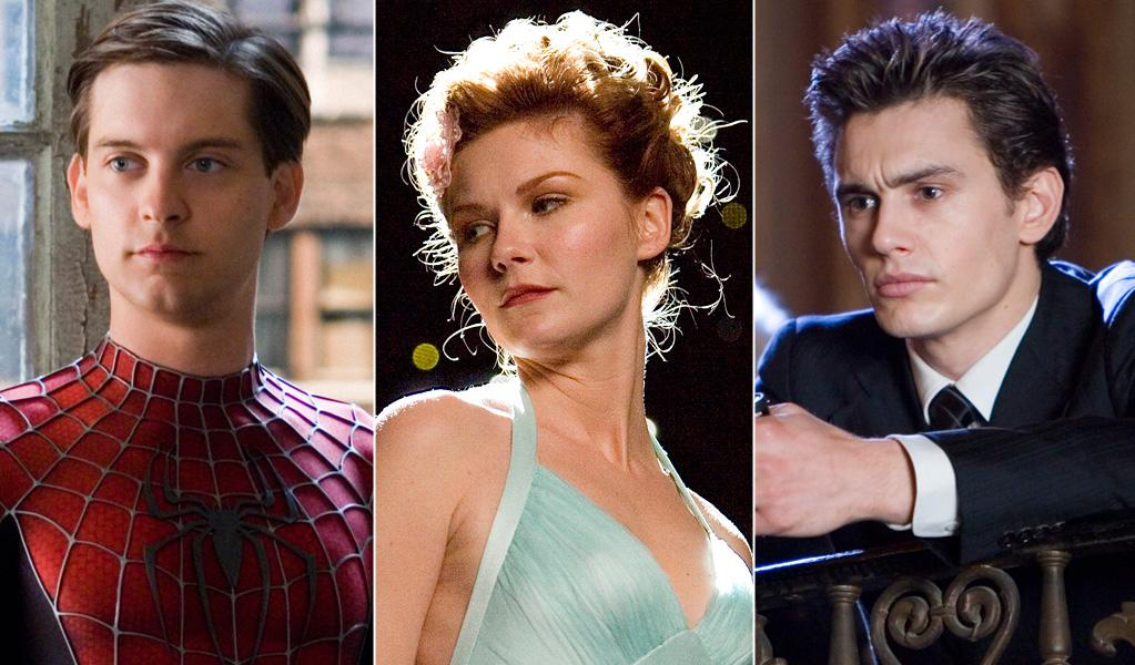 """""""Spider-Man"""": Will Peter Parker's (Tobey Maguire) sweetheart Mary Jane (Kirsten Dunst) swing with his alter ego Spider-Man (the upside-down kiss!), or go to his richer rival James Osborn (James Franco)?"""