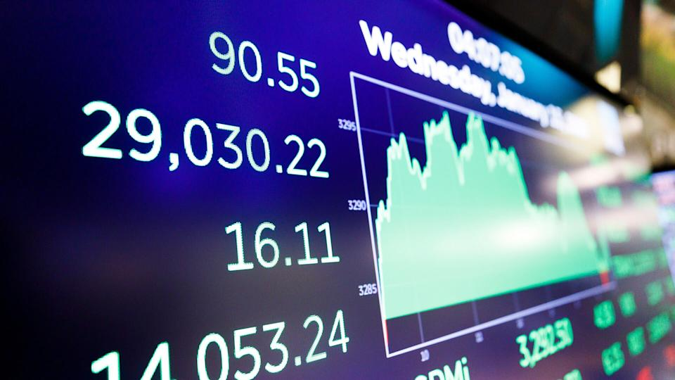 A screen shows the Dow Jones industrial average on the floor of the New York Stock Exchange in New York, New York, USA, on 15 January 2020.