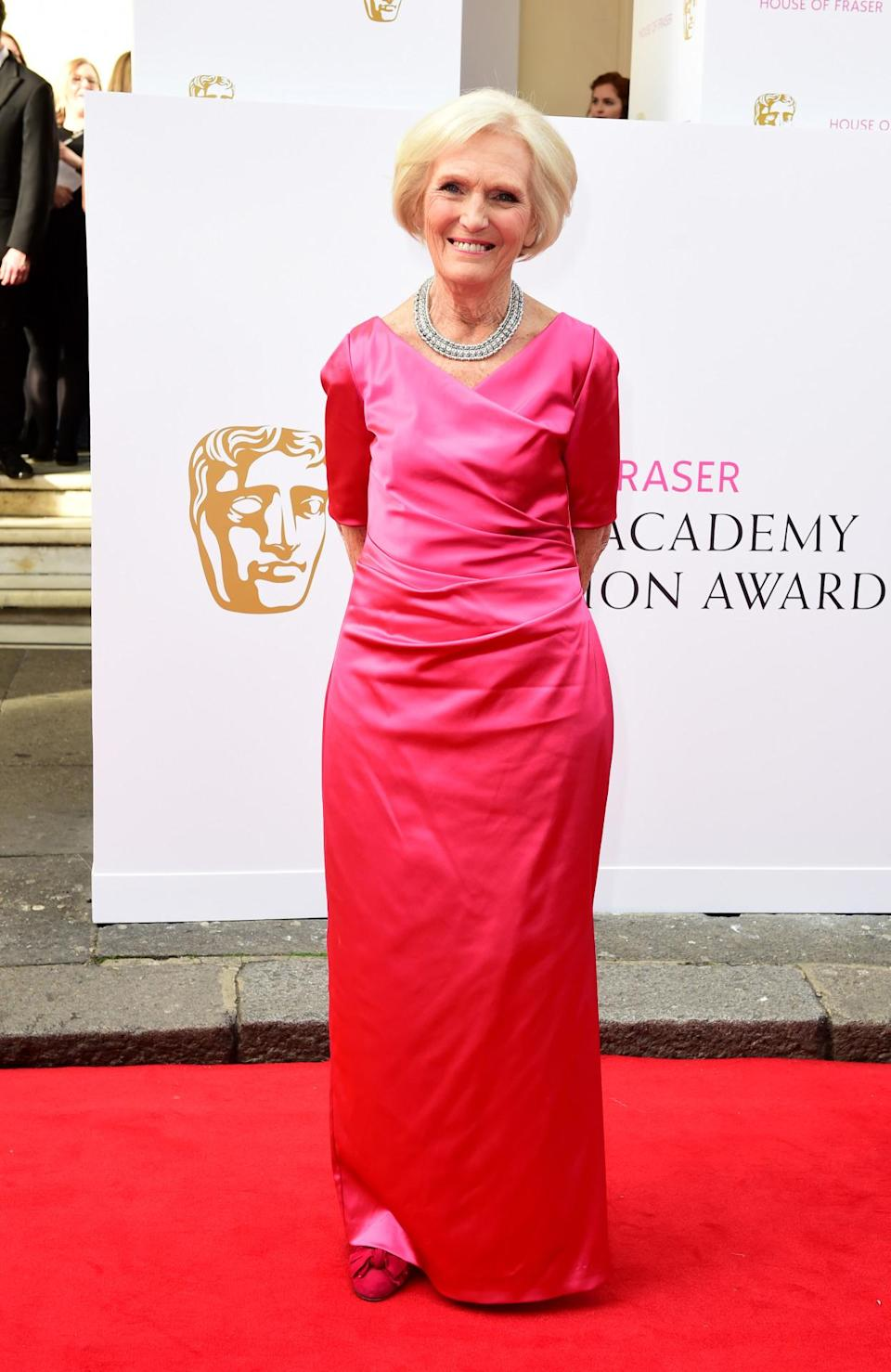 <p>A bright pink satin gown was Mary's daring outfit of choice for the British Academy Television Awards. </p><p><i>[Photo: PA]</i></p>