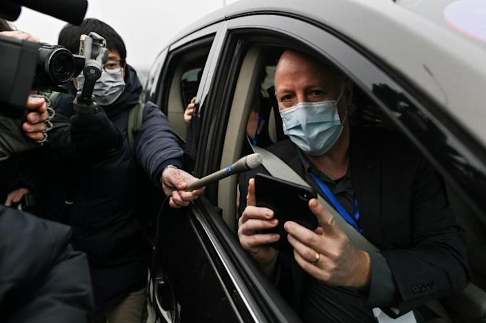 Peter Daszak, a member of the World Health Organization team investigating the origins of the COVID-19, speaks to media upon arriving with other WHO members to the Wuhan Institute of Virology