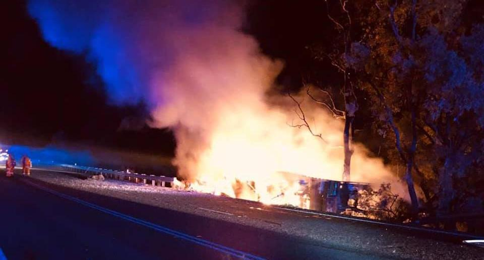 The scene of the crash at Willow Tree on Monday night. Source: Facebook/<span>Fire and Rescue NSW Station 429 Quirindi</span>