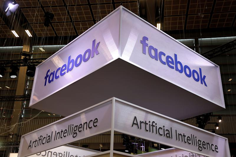 Logo of Facebook is seen at the high profile startups and high tech leaders gathering, Viva Tech,in Paris, France May 16, 2019. REUTERS/Charles Platiau