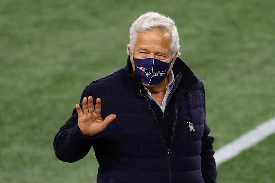 FOXBOROUGH, MASSACHUSETTS - NOVEMBER 15: Owner Robert Kraft of the New England Patriots looks on during warm ups against the Baltimore Ravens at Gillette Stadium on November 15, 2020 in Foxborough, Massachusetts. (Photo by Maddie Meyer/Getty Images)