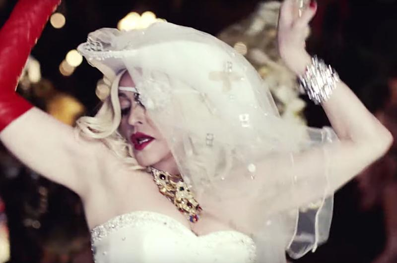 Madonna in the 'Medellín' video. (Photo: YouTube)